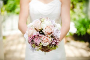 Vintage Bouquet with Roses, Hydrangea and Pearls